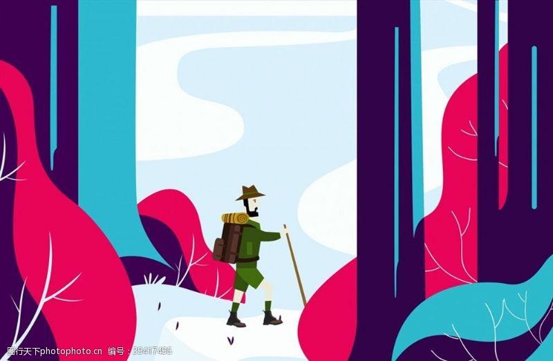 森林里探险的背包客图片