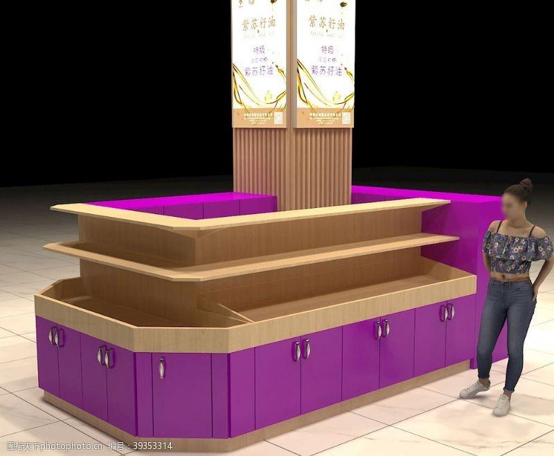 展台展示商场定制紫色原木色展台图片