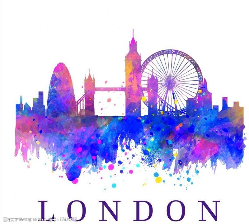 桥水彩绘伦敦建筑剪影图片