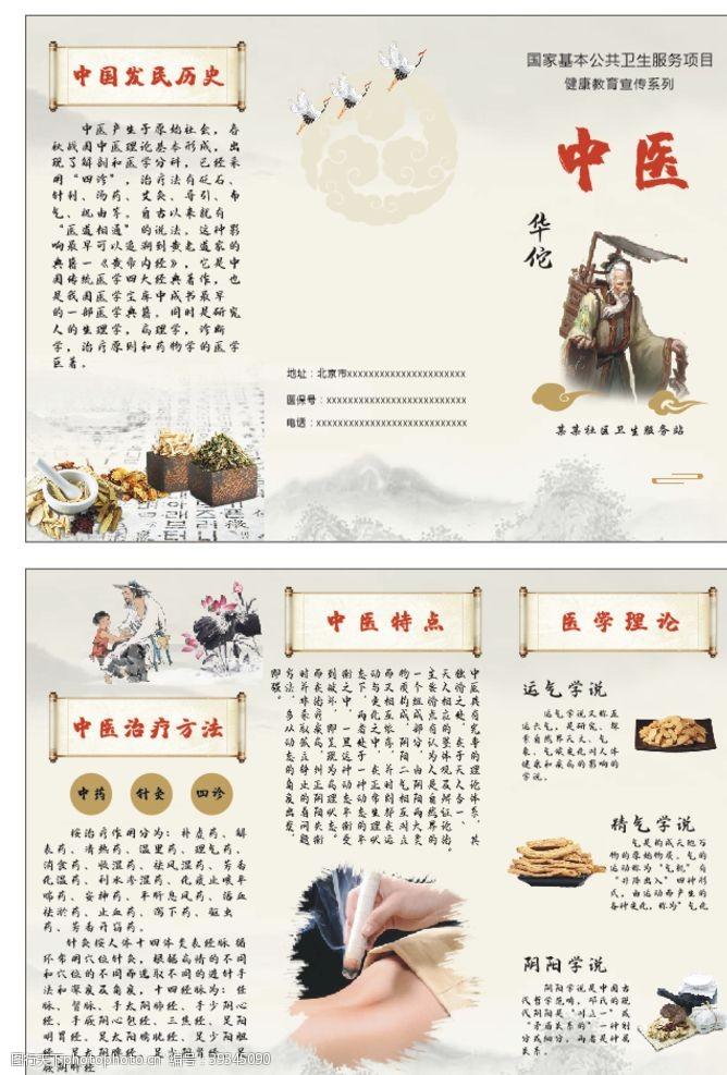 中医三折页图片