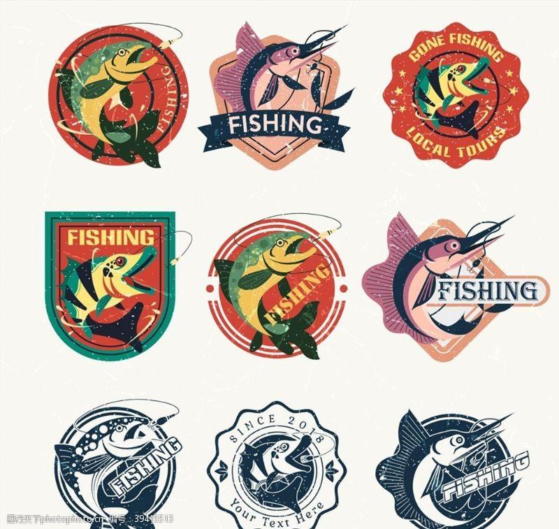 钓鱼元素标签图片