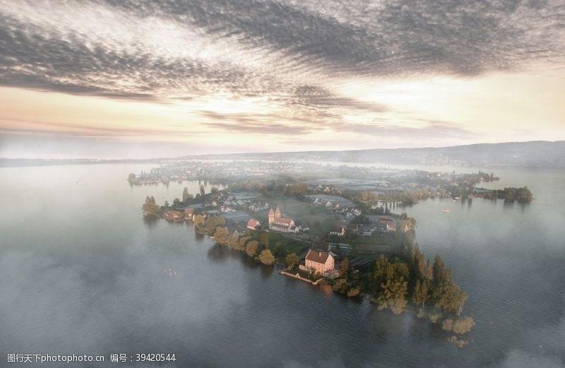 日落海上城市风景图图片