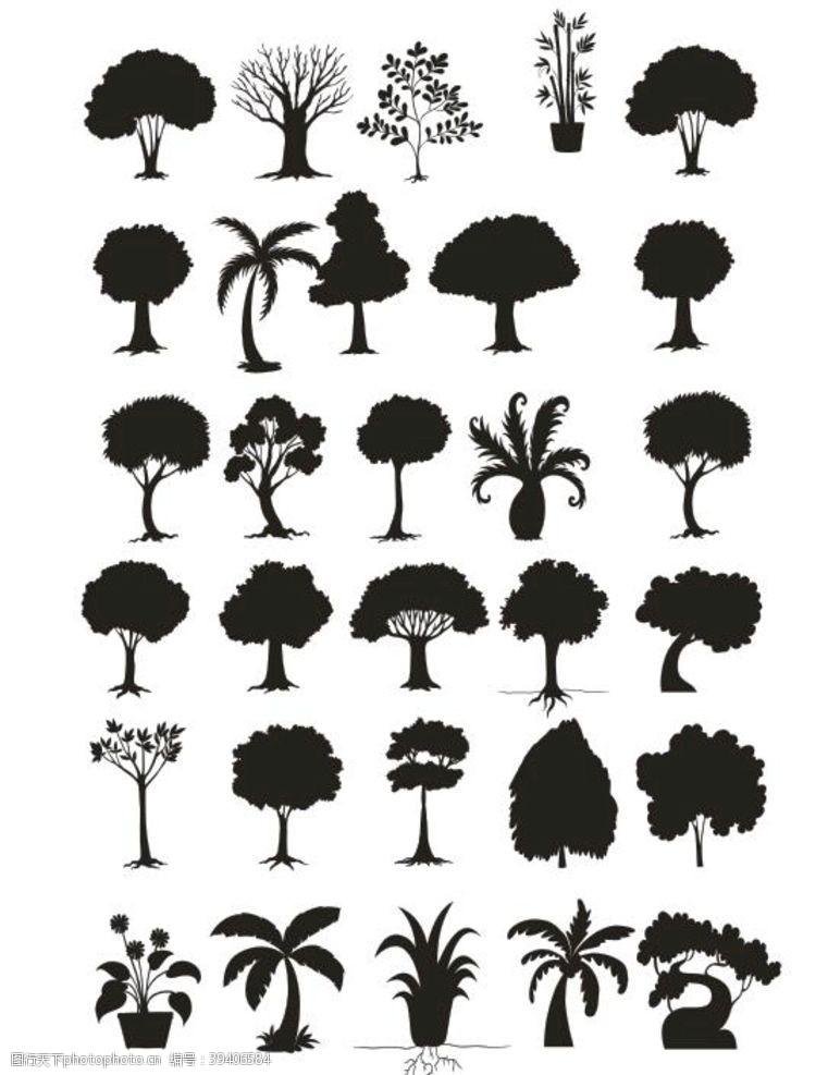 树木剪影剪影图片