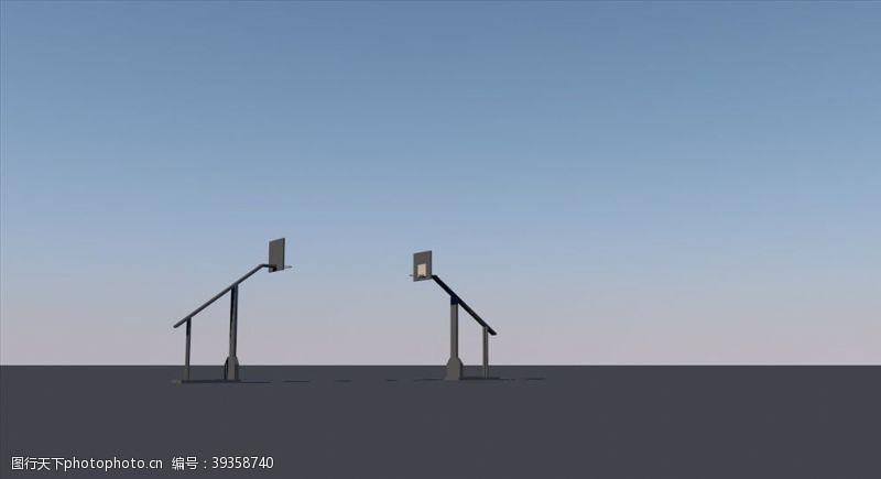 球场篮球架模型图片