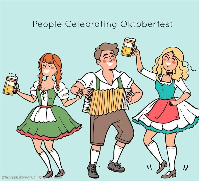 手风琴慕尼黑啤酒节男女图片