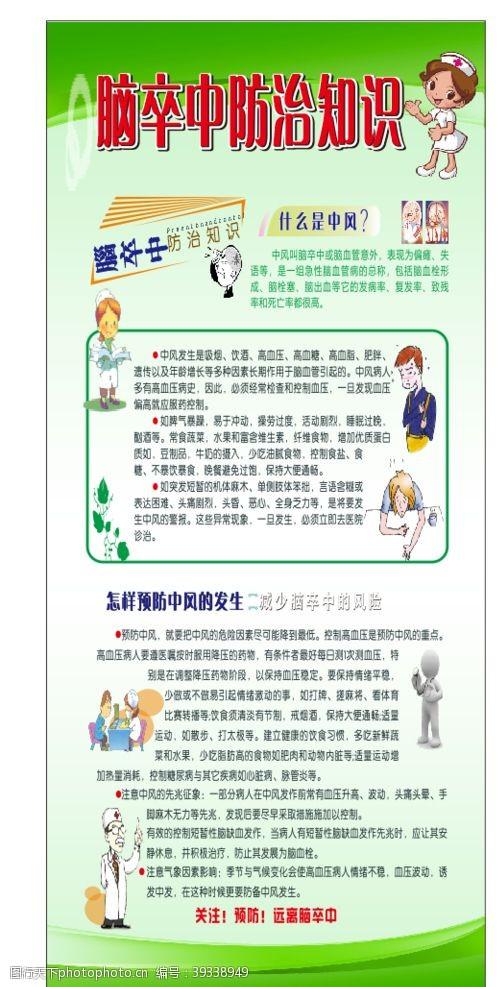 健康知识脑卒中防治知识展架图片