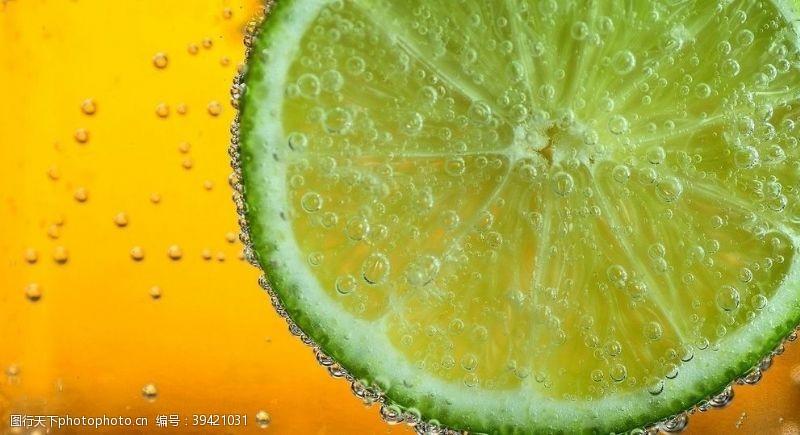 柠檬片果汁背景素材图片