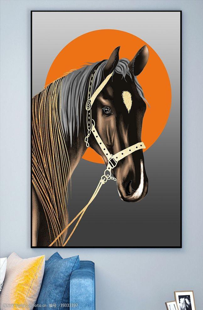 欧式装饰画奢华黑色骏马现代简约轻奢无框画图片