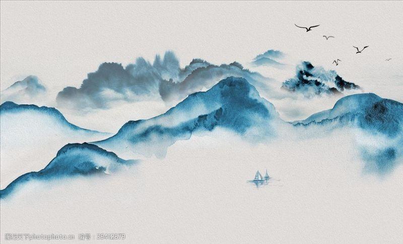 北欧水墨电视背景墙图片