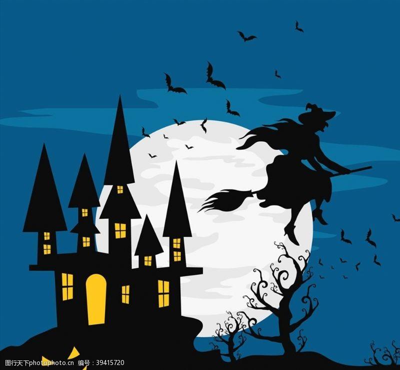 悬崖万圣夜古堡和女巫图片