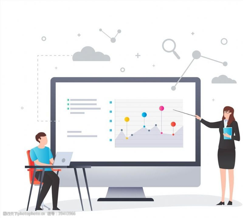 创意网络教学插画图片