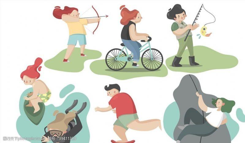 钓鱼户外运动人物图片