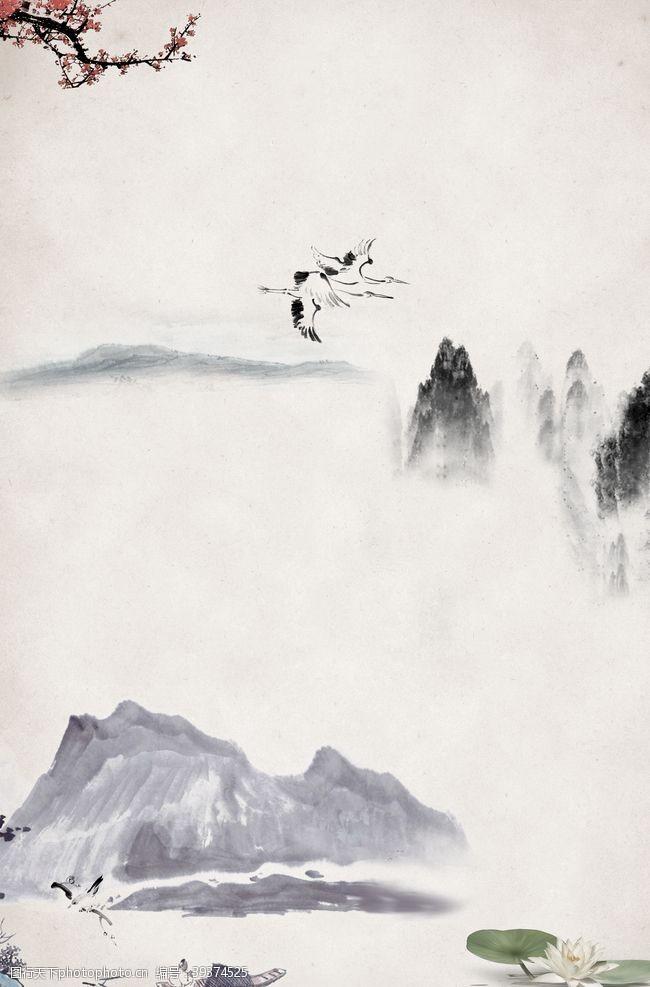 客厅壁画山水画图片