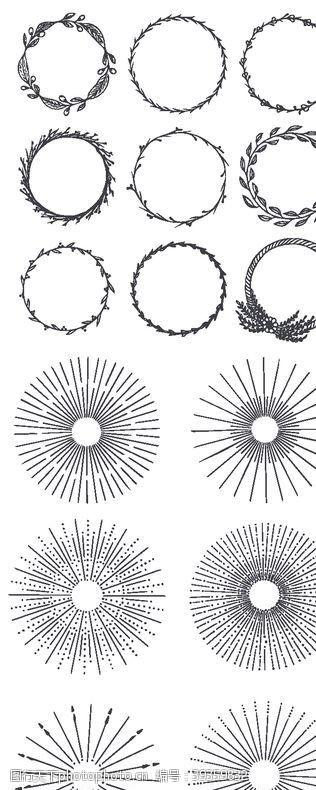 欧式花纹手绘花环图片