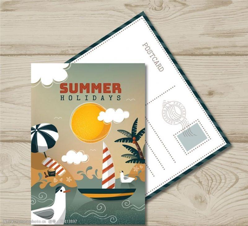 帆船夏季大海明信片图片