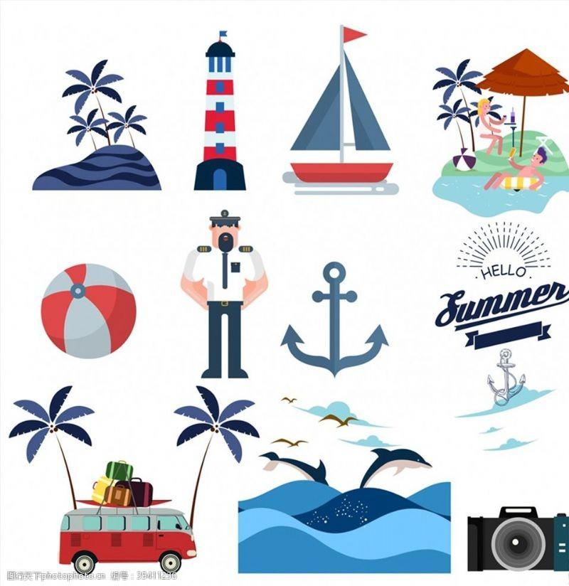 帆船夏季度假元素图片