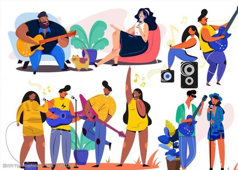 地毯演奏乐器人物图片