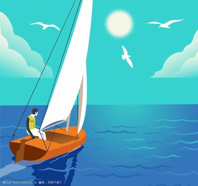 坐帆船出海的男子图片