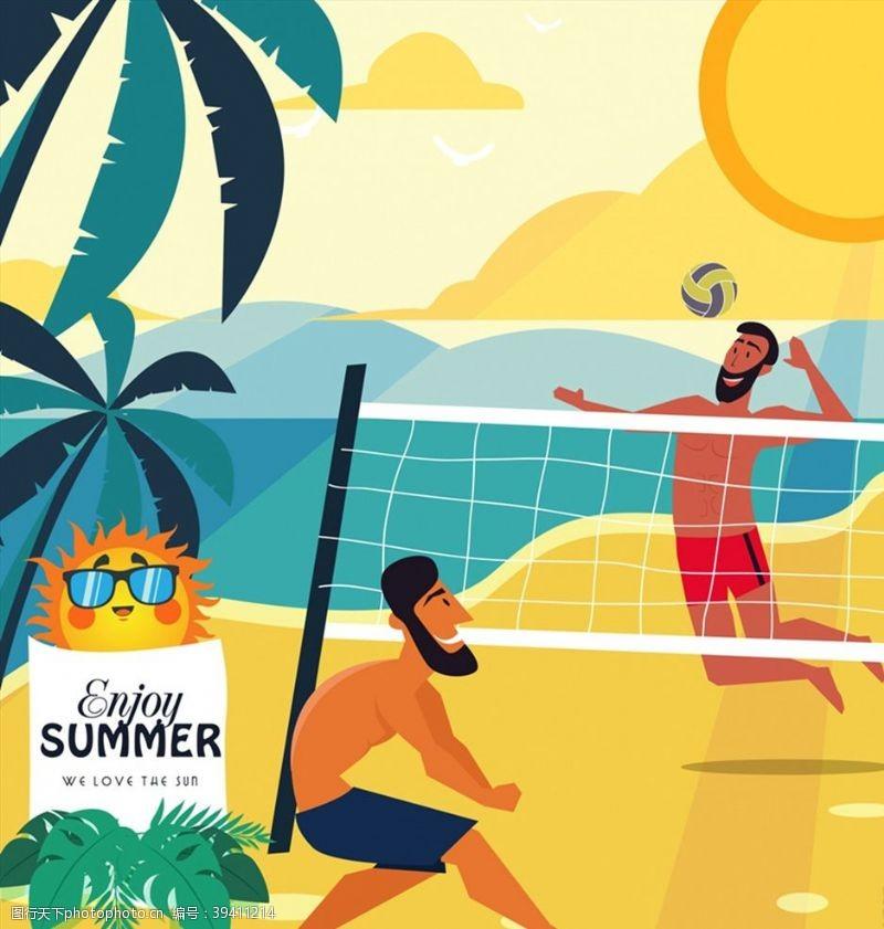 打沙滩排球的男子图片