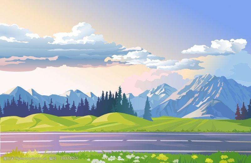 美丽背景风景画树图片