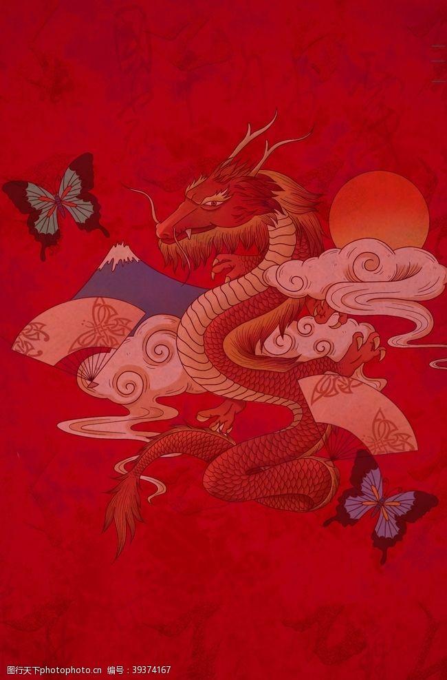 古典花边国潮风背景图片