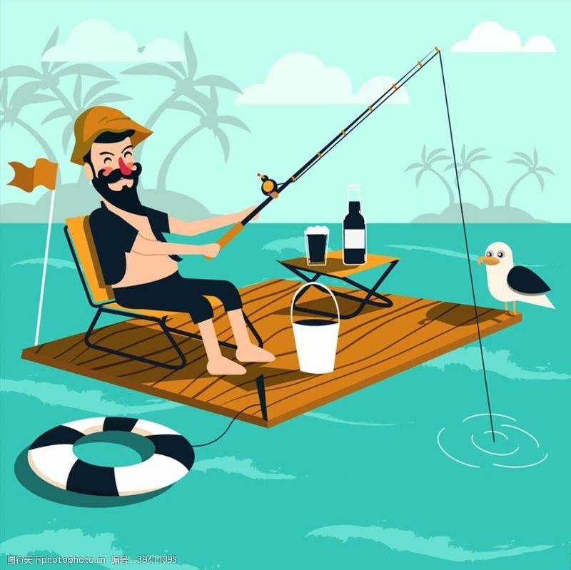 钓鱼海上垂钓的男子图片