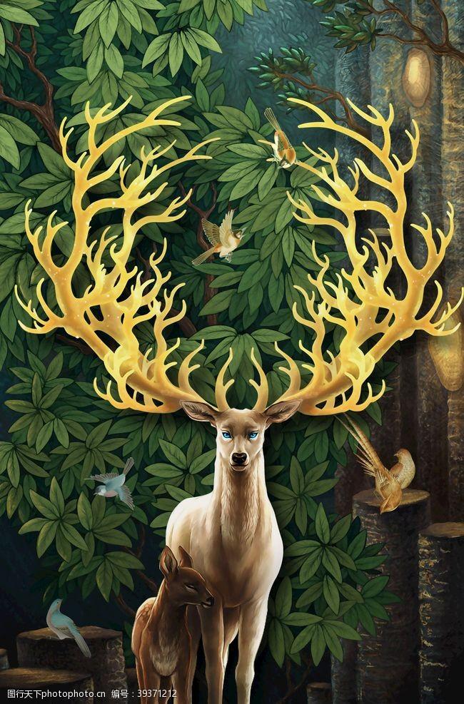 玄关山水麋鹿图片