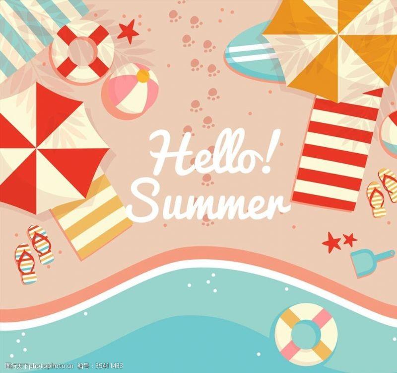沙滩椅你好夏季沙滩俯视图图片