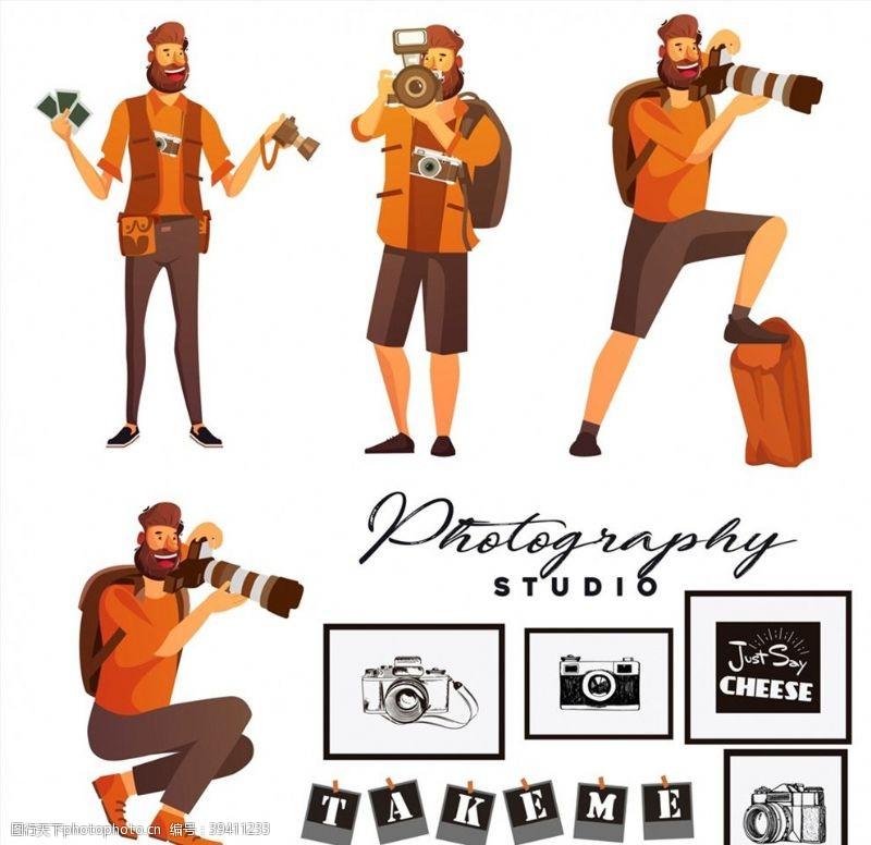 工作室摄影师男子矢量图片
