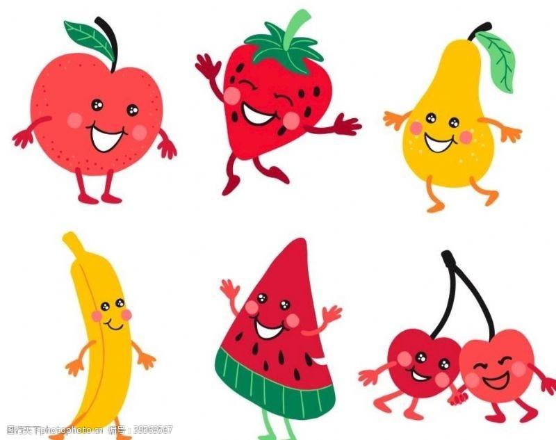 鸭梨矢量卡通水果图片