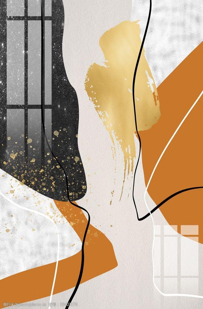 现代简约手绘几何色块装饰画图片