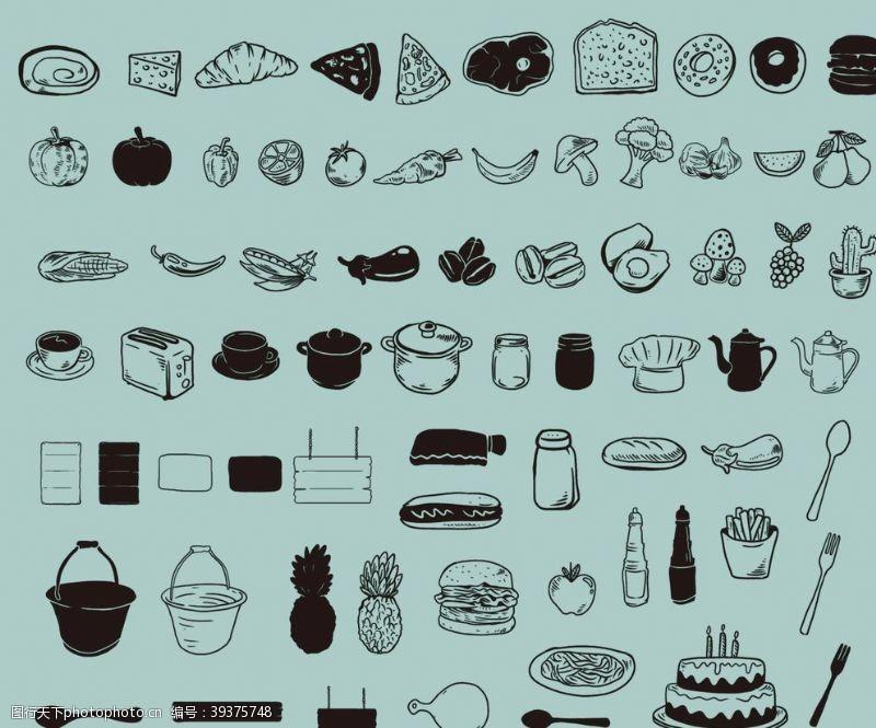 鸭梨黑白西餐美食厨具图片