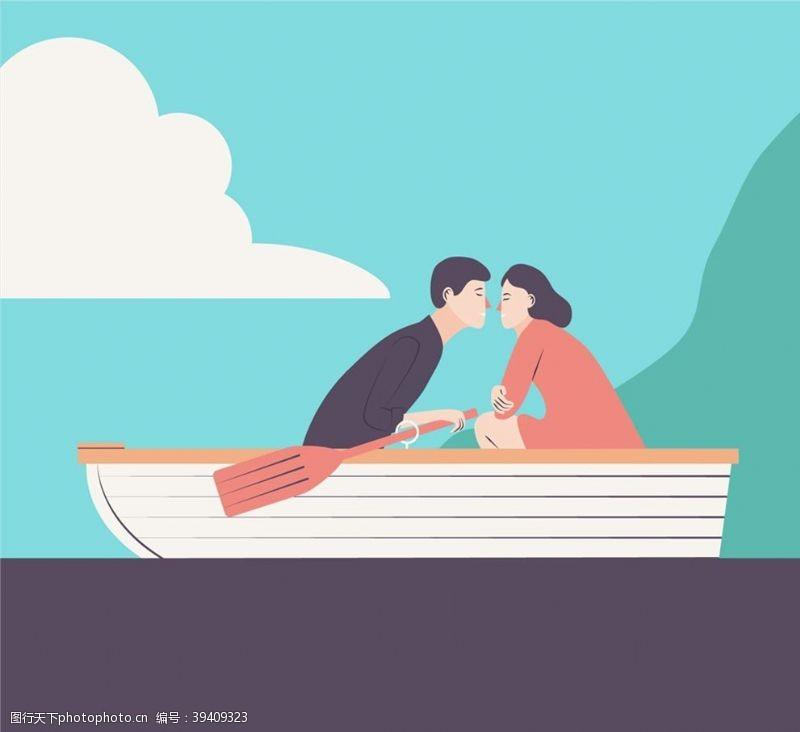 帆船划船约会的男女图片