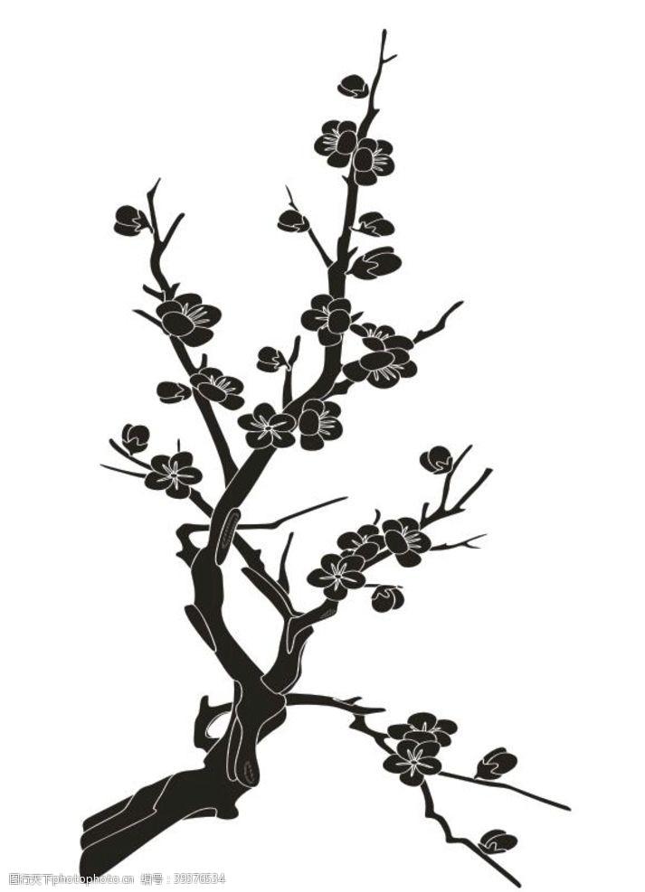 植物剪影梅花剪影矢量图黑白剪影图片