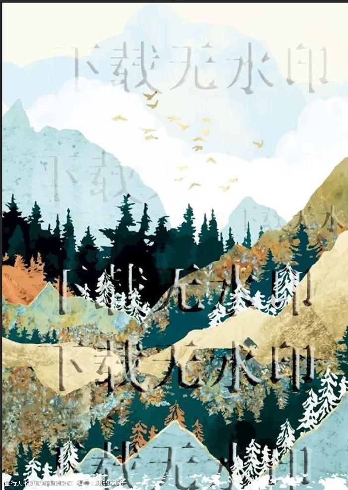 几何壁纸山水画彩色丛林图片