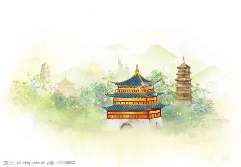 城市插画唯美背景海报素材图片