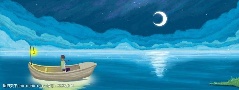 插画海洋蓝色清新治愈背景海报素材图片