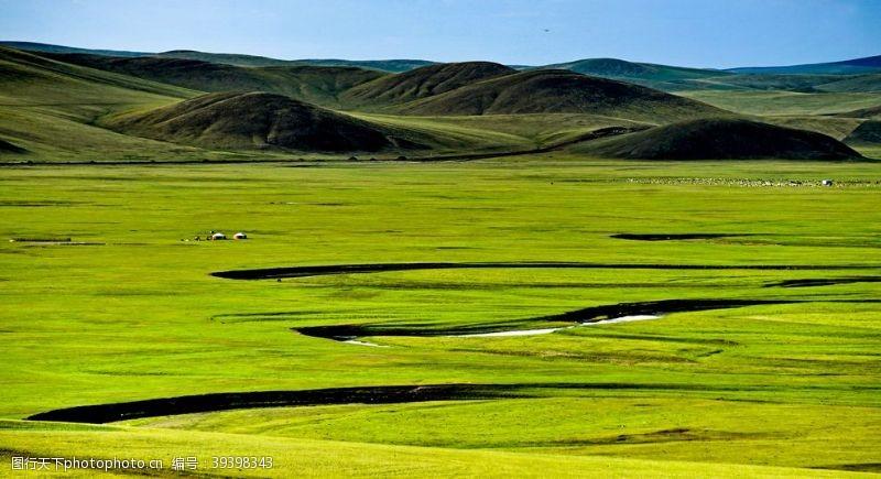 绿色背景呼伦贝尔大草原图片