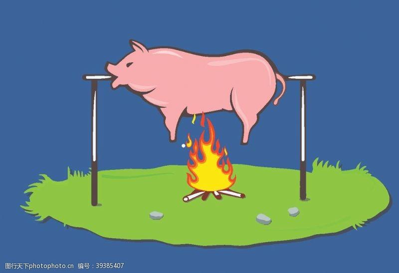 插画烤乳猪图片