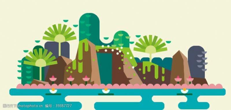 山坡山水图图片