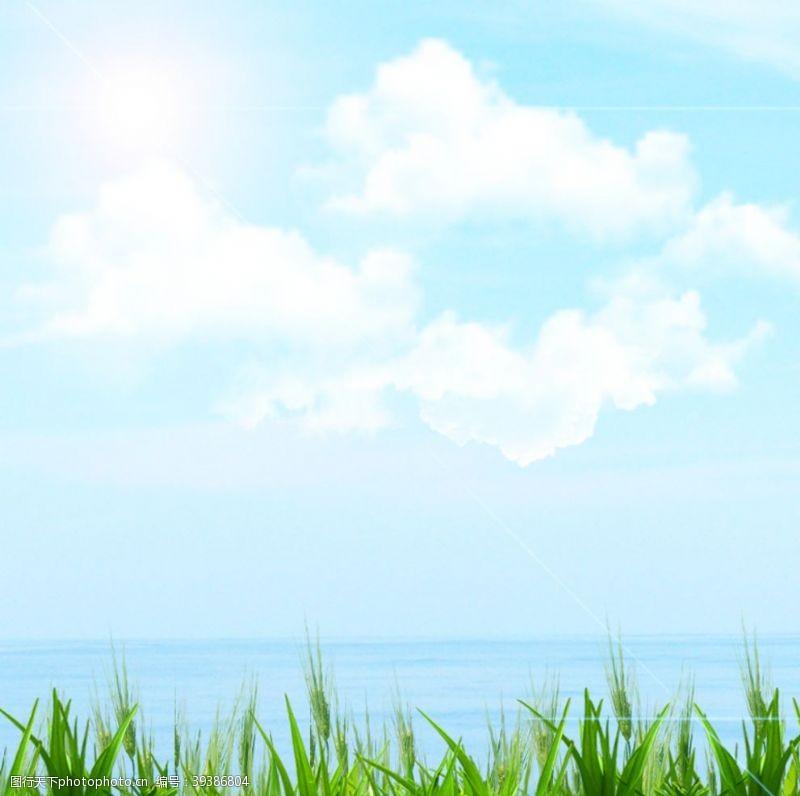 天空草坪清新背景海报素材图片