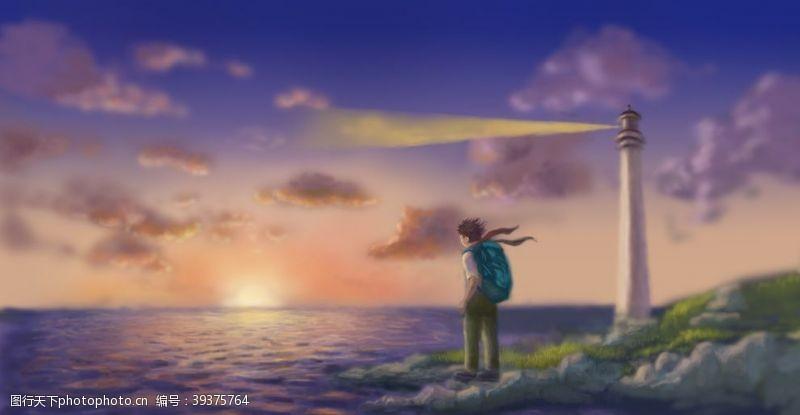 灯塔唯美日落海景插画图片