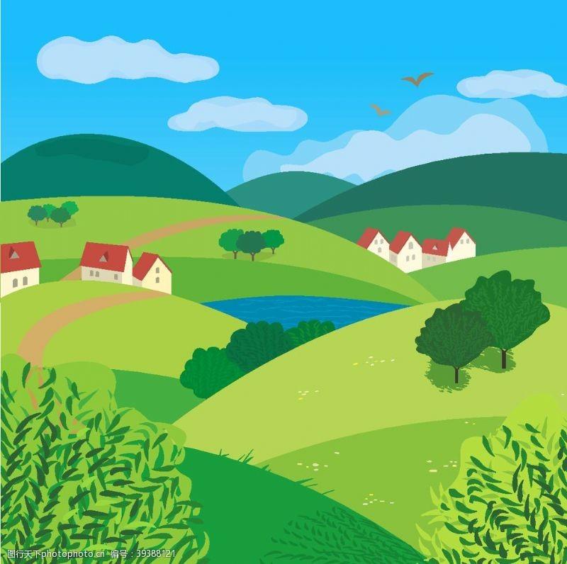 美丽背景新农村图片