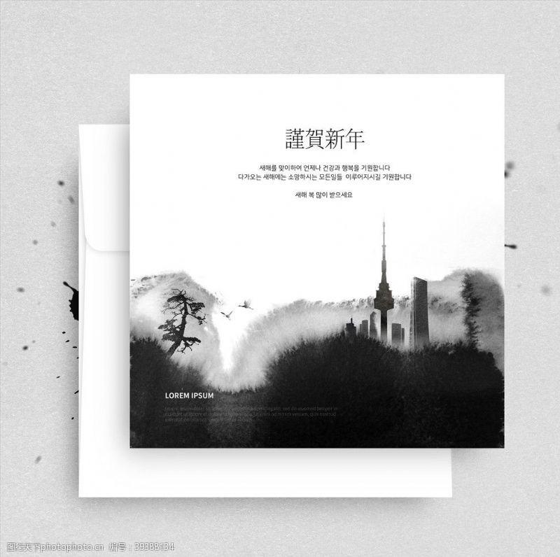 艺术水墨建筑背景图片