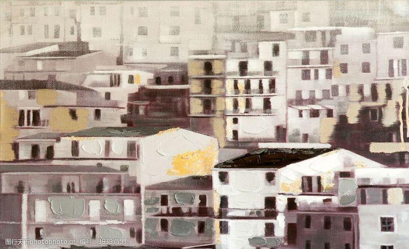 油画城市背景墙图片