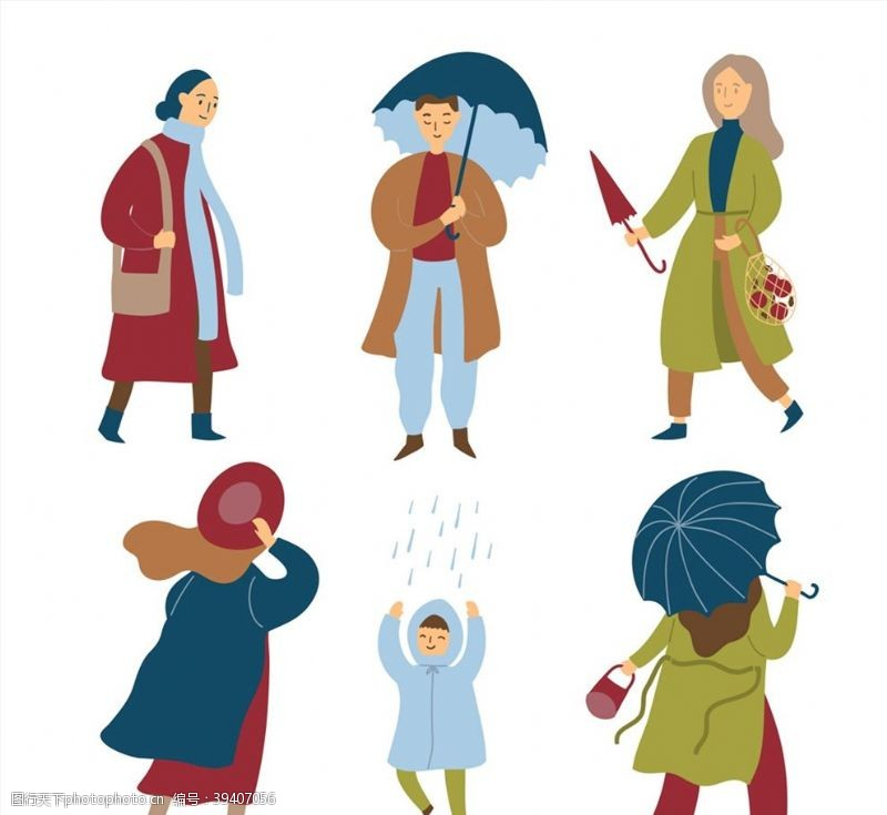 雨水雨中的人物矢量图片