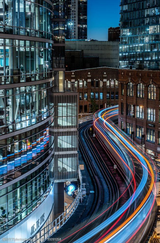 流线城市流光图片