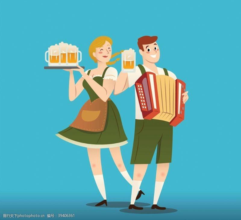 手风琴创意啤酒节男女图片