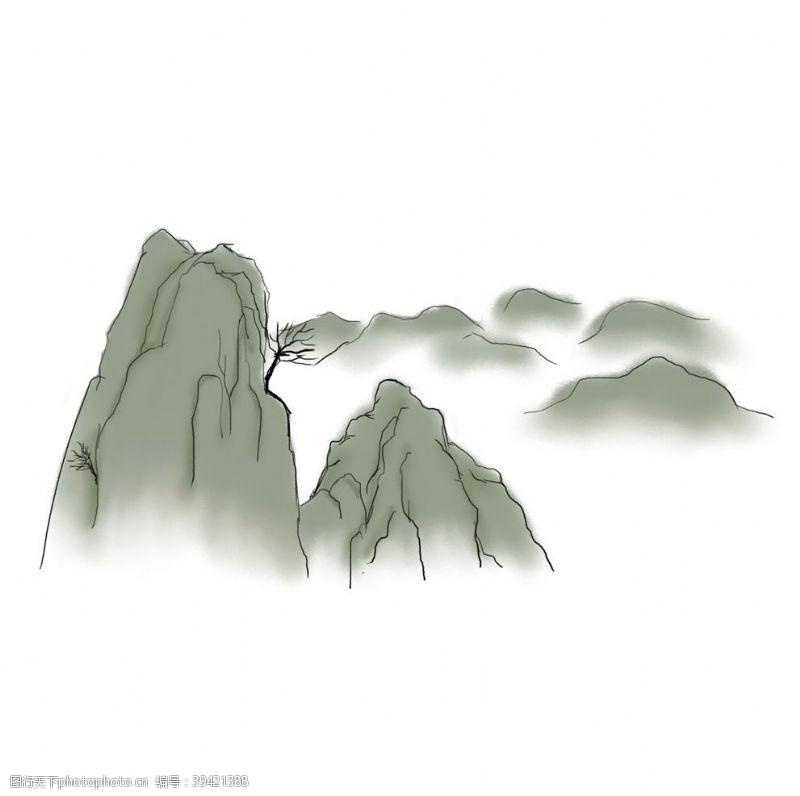 风景漫画国潮山脉元素图片
