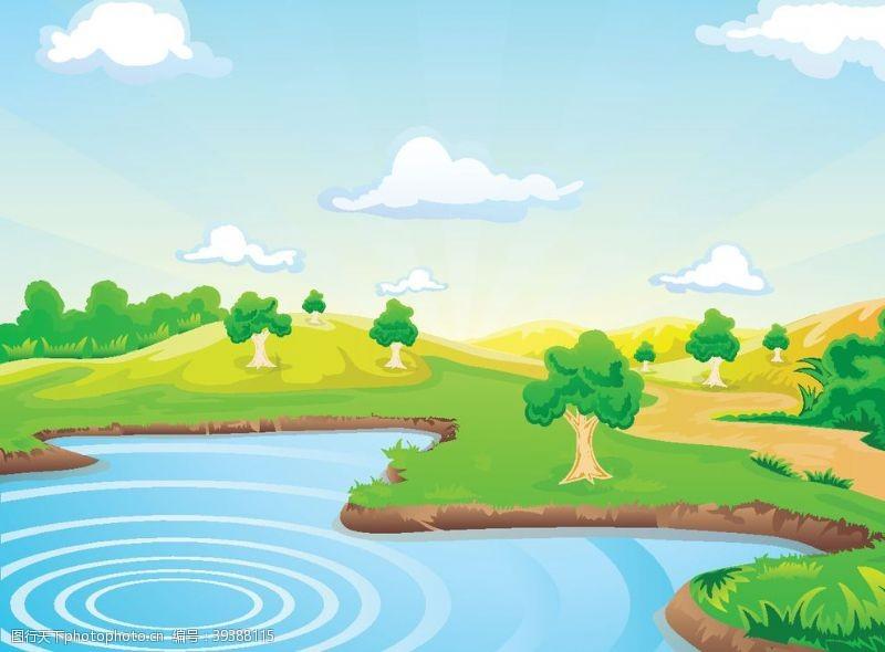 美丽背景湖水森林图片